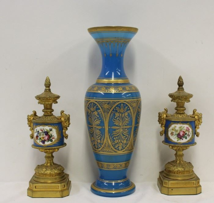 A Pair of Glit Bronze Urns with Sevres Porcelain