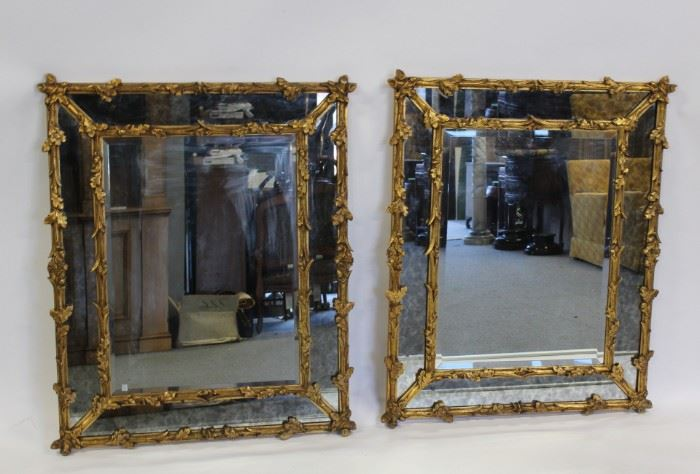 A Pair of Midcentury Giltwood Bamboo Form Mirrors
