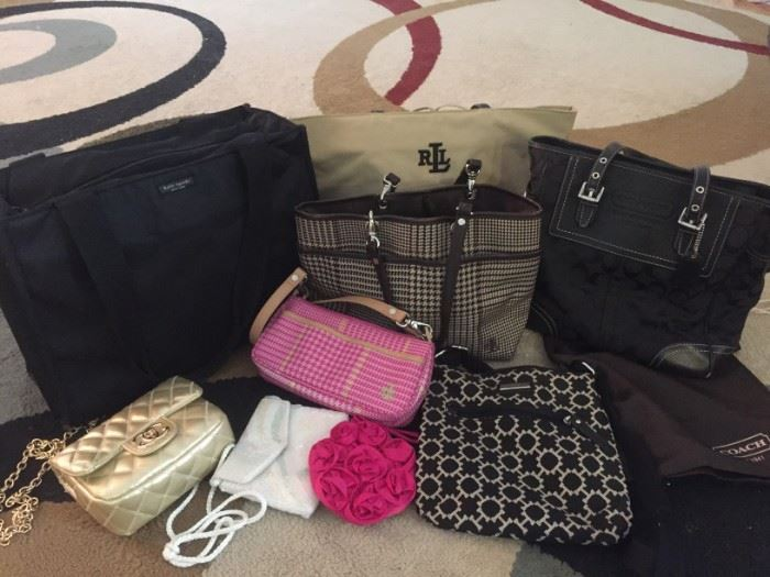 Assorted Authentic Purses and Totes: COACH, Kate Spade, Ralph Lauren, Tommy Hilfiger...