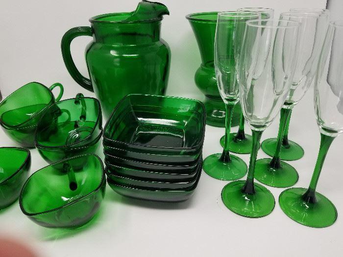 Green Glass Dishes (service for 6) https://ctbids.com/#!/description/share/104431