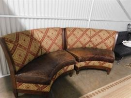 Walter E Smithe  Custom 2 piece matching  distressed leather seat ornate fabric front & back curved seating