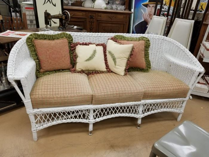 Upscale white painted wicker/rattan sofa with cushions & pillows