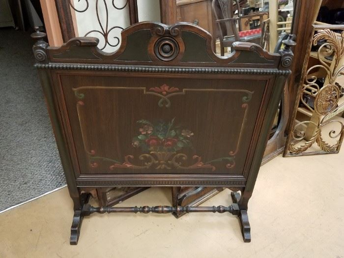 Antique hand painted wood fireplace screen