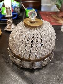 Gorgeous crystal & antique brass ceiling light cover (cover only)