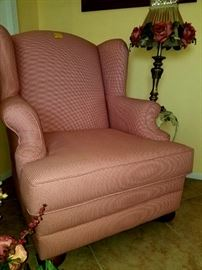 Large wing chair Red and white checker fabric