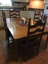 Nice Oak Dining Table,  Set of High Back Chairs