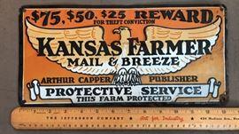 Kansas Farmer Mail & Breeze Vintage Metal Sign