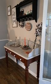 Marble Top Side Table/ Wash Stand, Shelf, framed Pictures, Crystal, Silver Tray and more