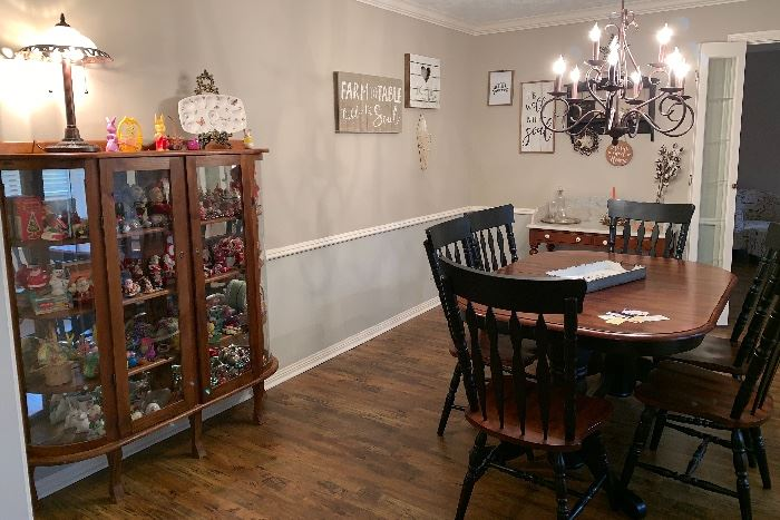 Dining Room Table with Pop Up Leaf and 6 Chairs, Bow Front Cabinet, Vintage Christmas Collectibles, Easter and Halloween