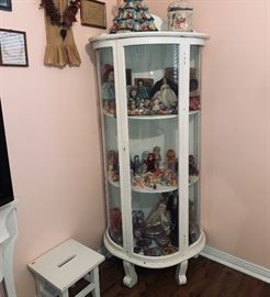 Bow Front Cabinet, Vintage Doll Collection