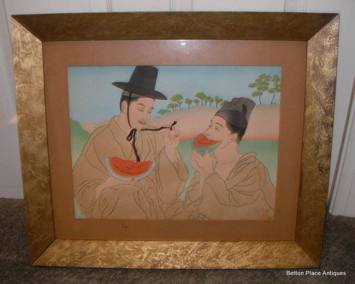 """Paul Jacoulet Woodblock Print signed, purchased in Japan. """"The Watermelons"""" Les Pasteques.  Carved by Kento Maeda, printed by Matashiro Uchikawa."""
