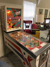 Vintage 1960's Lucky Strike Pinball machine.  Works and comes with original paperwork.   (Photo by BC)