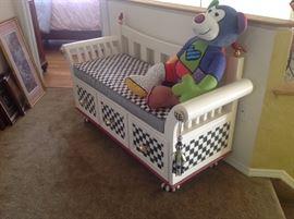 Mackenzie-child's bench with three draws