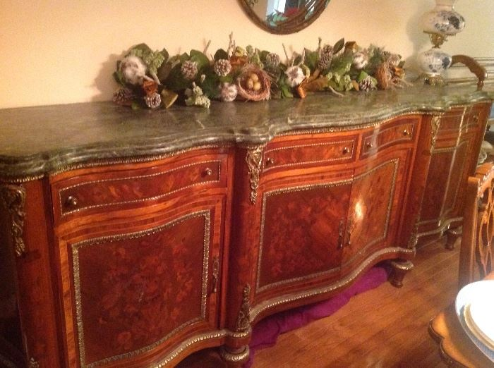 "Satinwood 9' server with 2 "" marble top in excellent condition"