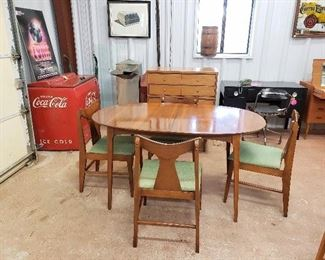 Stanley dining table & chairs; Coca-Cola cooler