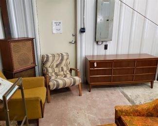 Dixie Triple Dresser, Wharfdale Speakers, Scoop Chair, Rowe chair