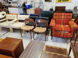 Parsons Chairs, J.L. Moller Chairs, Plaid Chair