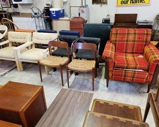 Parsons Chairs, J.L. Moller Chairs, Plaid Chair