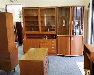 Teak Hundevad & Co. cabinets, Skovby lighted cabinet
