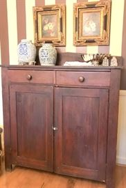 Antique jelly cupboard, 2 drawers over 2 doors.