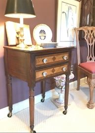 Charming 2 drawer stand, antique, unique inlay.