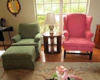 Hickory club chair with ottoman and Henredon wing back chair