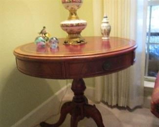 Leather top drum table