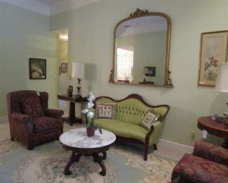 Victorian style sofa & large plantation mirror