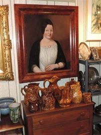Fine Folk Art Oil Painting, Rockingham, Bennington and MUCH MORE!!!