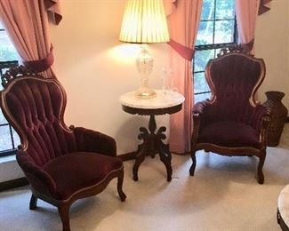 Pair of Side Chairs - Marble Top Pedestal Table - Lamp