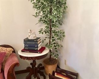 Marble Top Pedestal Table - Silk Tree - Magazine Stand