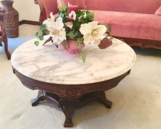 Carved Coffee Table with Marble Top - Silk Arrangement