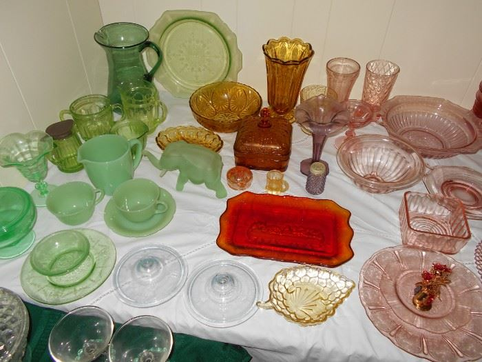 pink , amber, green , and fire king glass