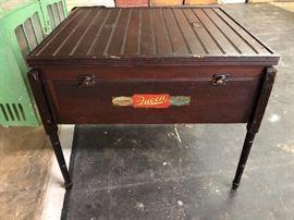Old farmhouse incubator turned into a game table