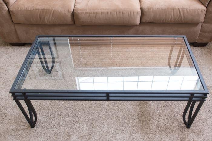 Glass Top Coffee Table Metal Base