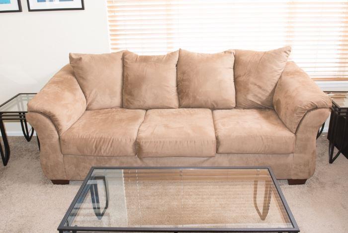 Brown/Tan Microsuede Sofa Ashley Furniture