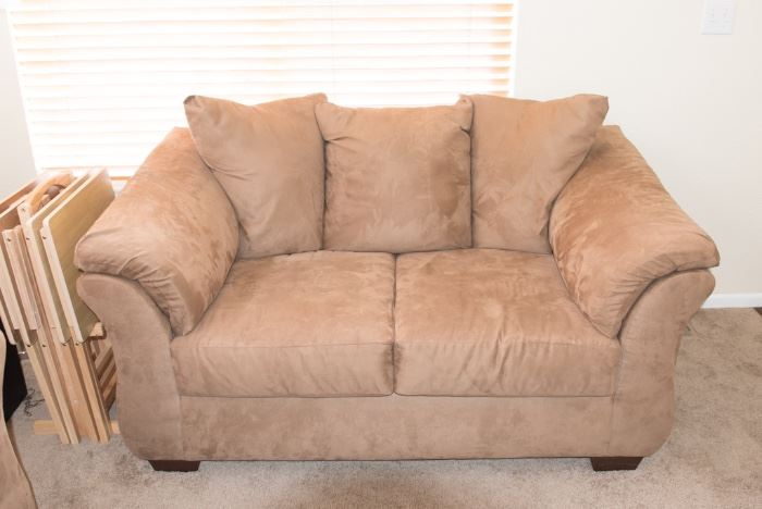 Brown/Tan Microsuede Loveseat Ashley Furniture