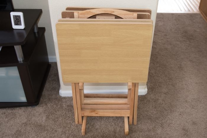 Set Of 4 Natural Wood TV trays