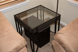 Square Side Table Glass Top Metal Base