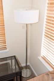 Silver Floor Lamp White Round Shade