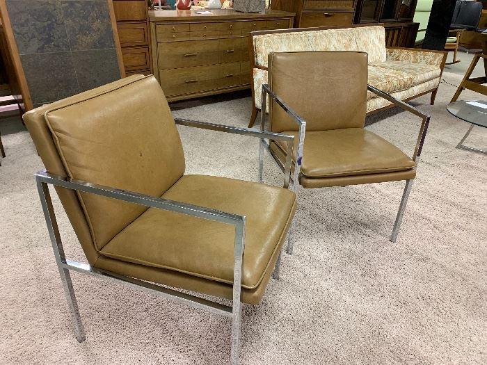 Pair Mid-Century Chrome Chairs