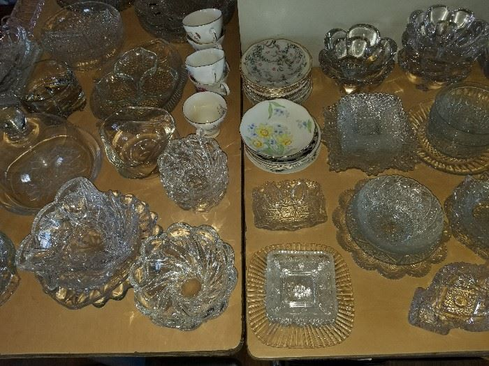 Pressed glass serving dishes and bowls.