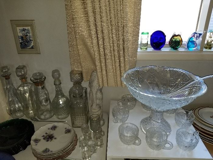 Vintage decanters, luncheon plates, and EAPG pedestal punch bowl set.