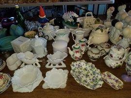 Antique milk glass, Van Briggle, and vintage décor.