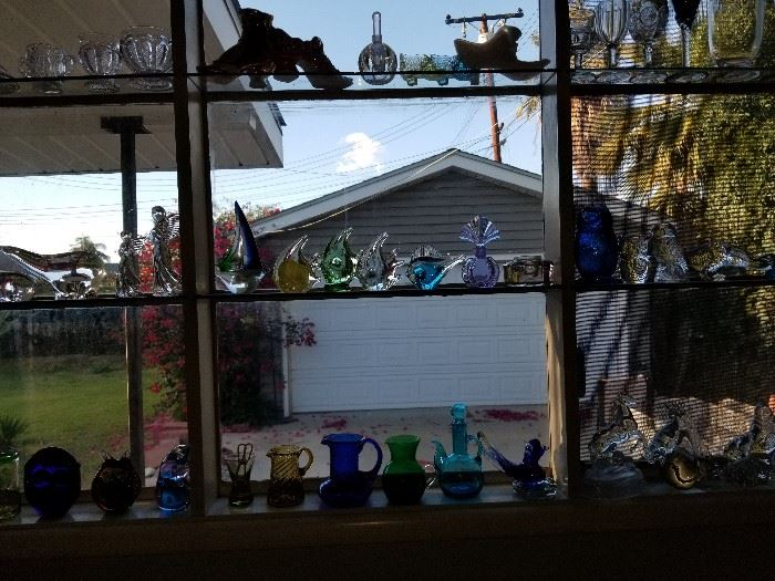 Early American pressed glass children's dishes, ceramic and pressed glass Victorian shoes, Swedish art glass, etc,