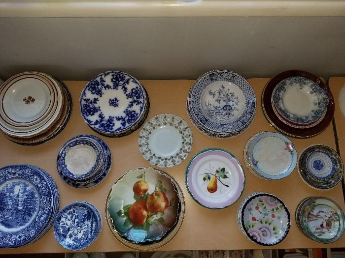 Antique flow blue pottery, vintage Nippon, milk glass, etc.  Some cabinet pieces.
