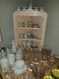 Hobnail and paneled grape milk glass, Depression glass, demitasse tea and coffee cup and saucer sets.