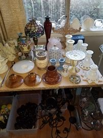 Avon bottles, jars, and Cape Cod pieces.  Partylite and vintage milk glass candle holders.