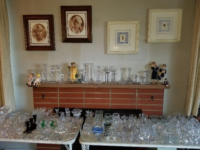Candy Designs figurines, Depression glass and crystal candlesticks.