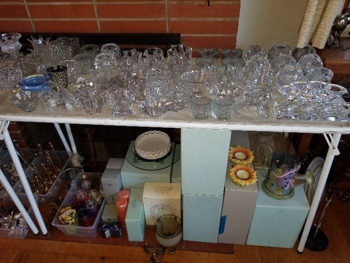 Partylite, Kosta Boda, Orrefors, Hallmark, glass, crystal, brass tea light, votive and taper candle holders.